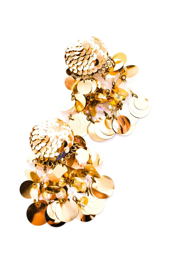 Gold Sequin Statement Clip-on Earrings