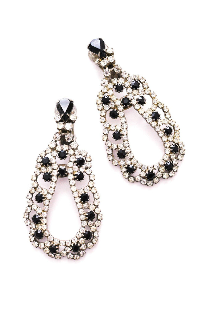 Rhinestone Teardrop Statement Clip-on Earrings