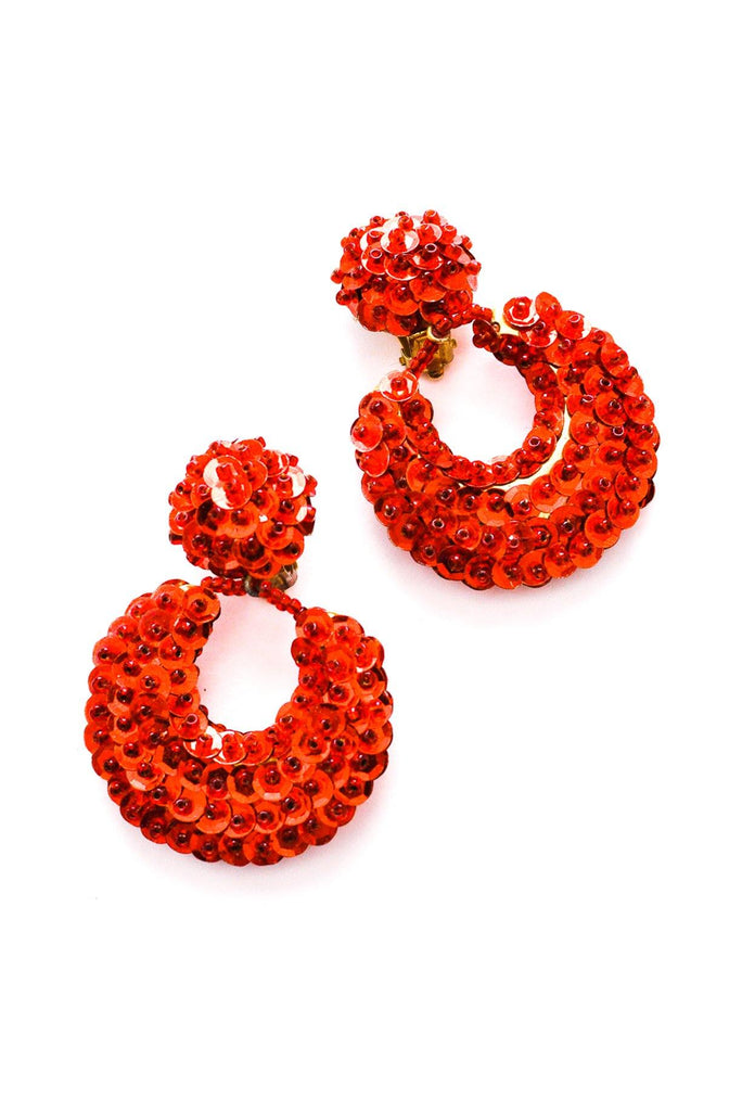 Red Sequin Hoop Clip-on Earrings