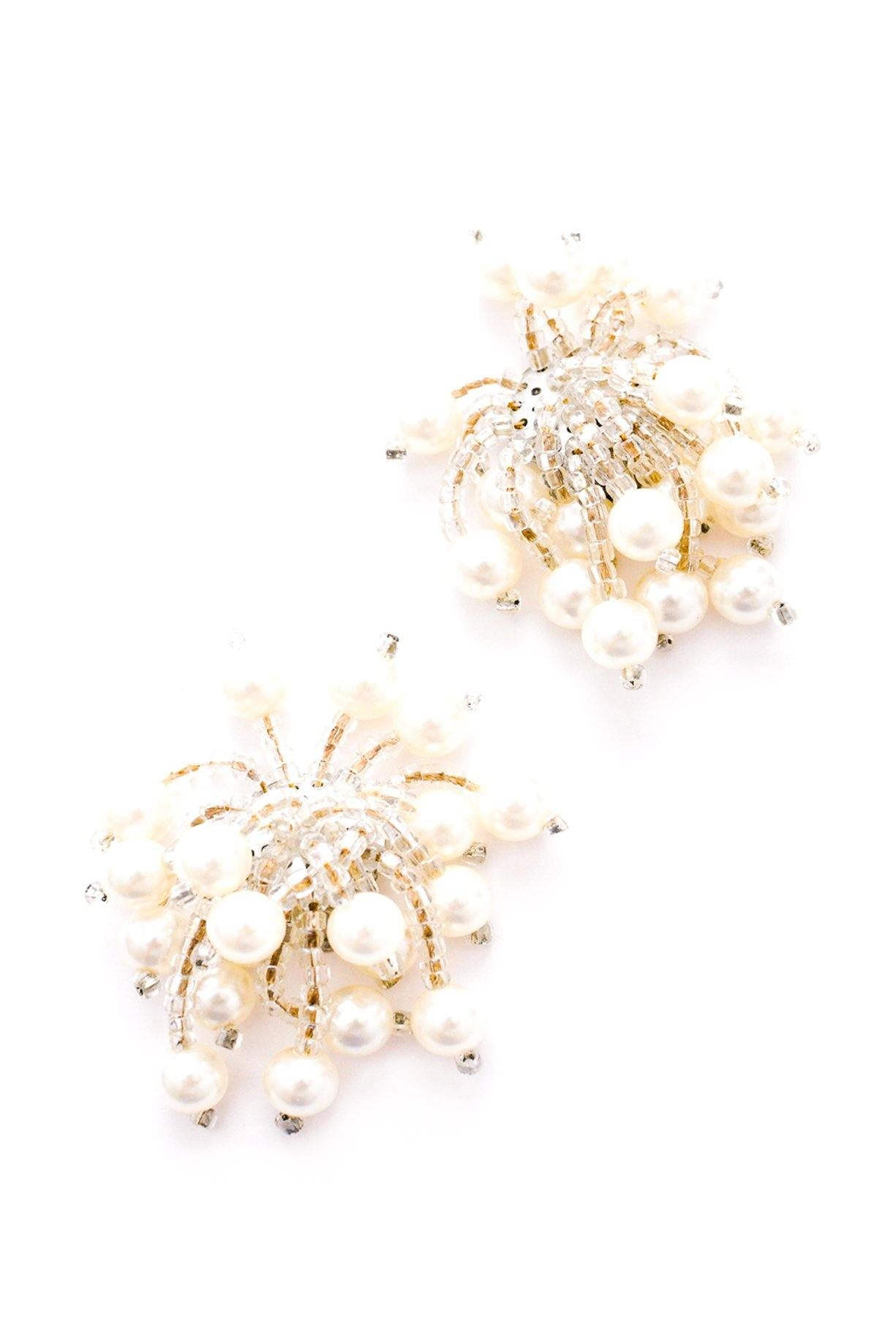 Pearl Fringe Clip-on Earrings