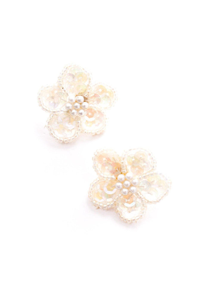 Sequin Floral Pierced Earrings