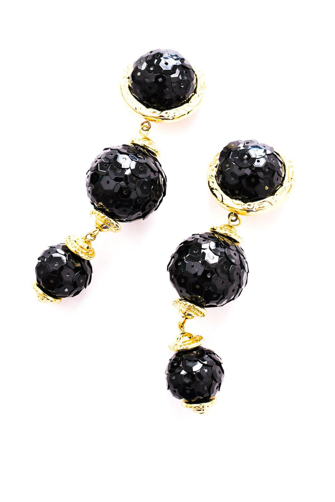 Black Sequin Drop Clip-on Earrings