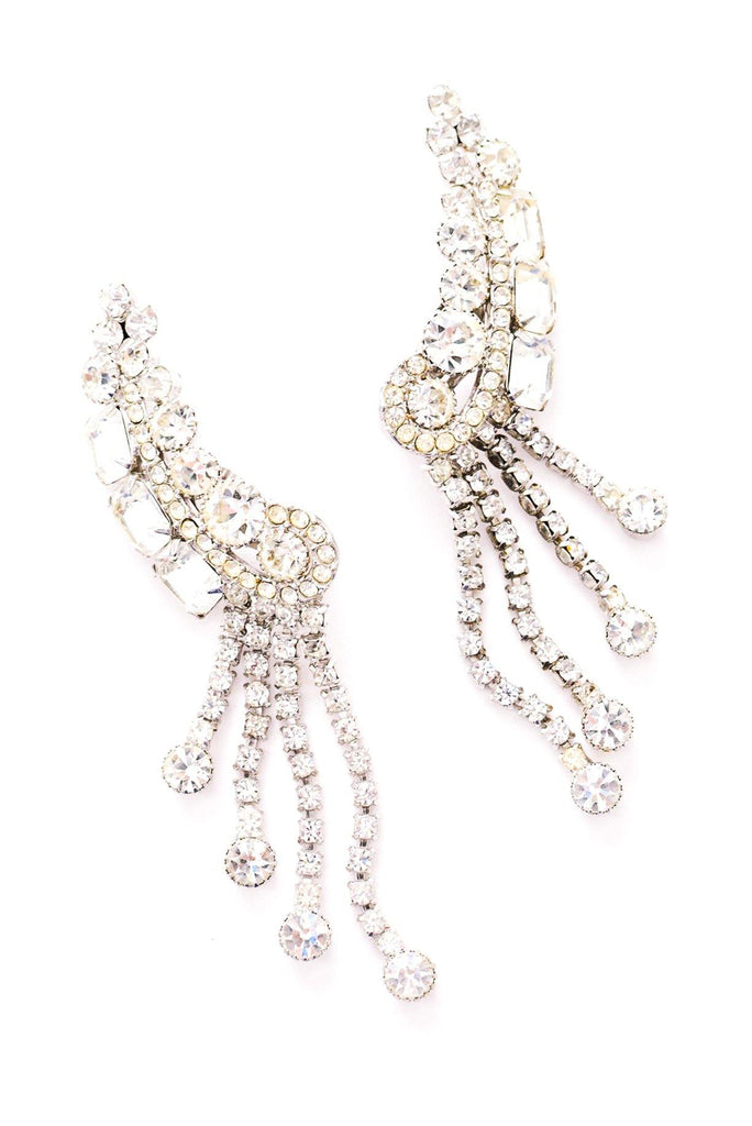Rhinestone Crawler Fringe Clip-on Earrings