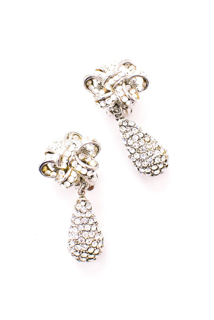 Rhinestone Knot Drop Clip-on Earrings