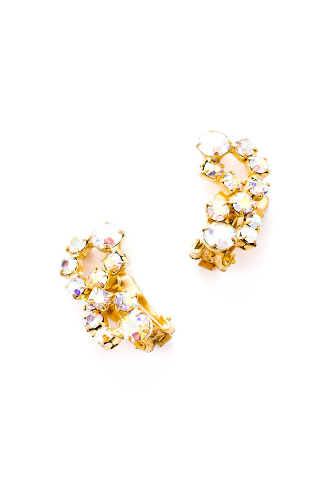 Aurora Borealis Rhinestone Crawler Clip-on Earrings