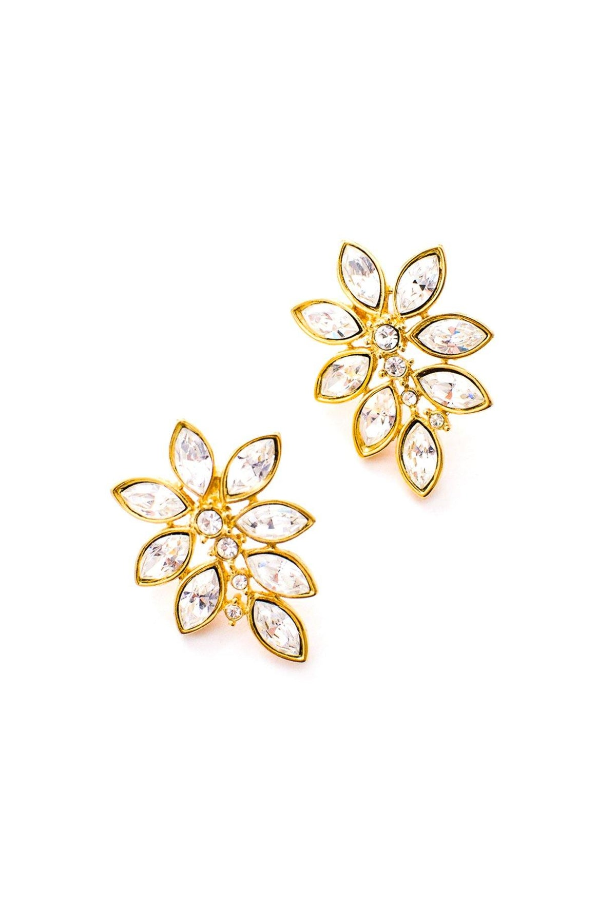 Vintage Monet rhinestone floral earrings from Sweet & Spark.