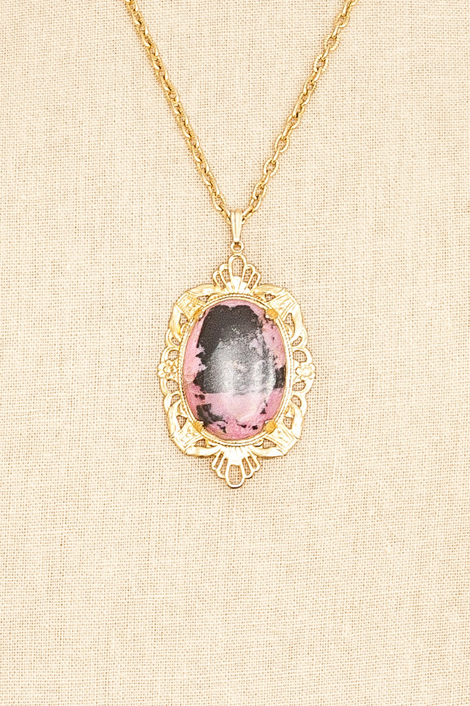 70's__Vintage__Pink Marbled Stone Necklace