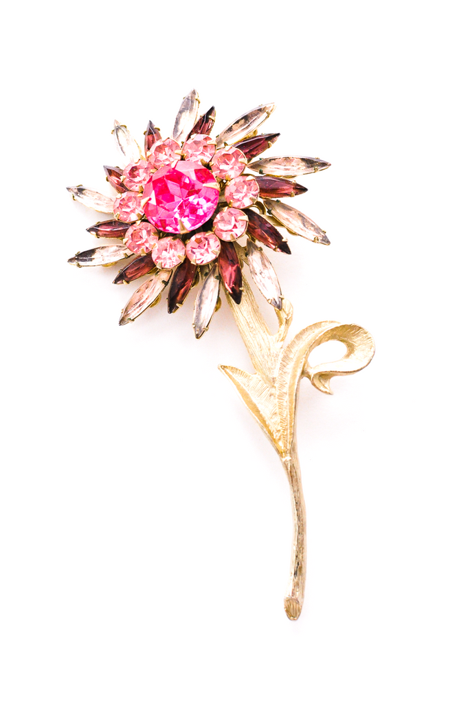 Rhinestone Stem Statement Brooch