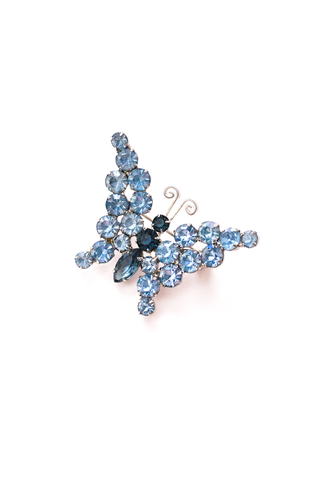 Blue Rhinestone Butterfly Brooch