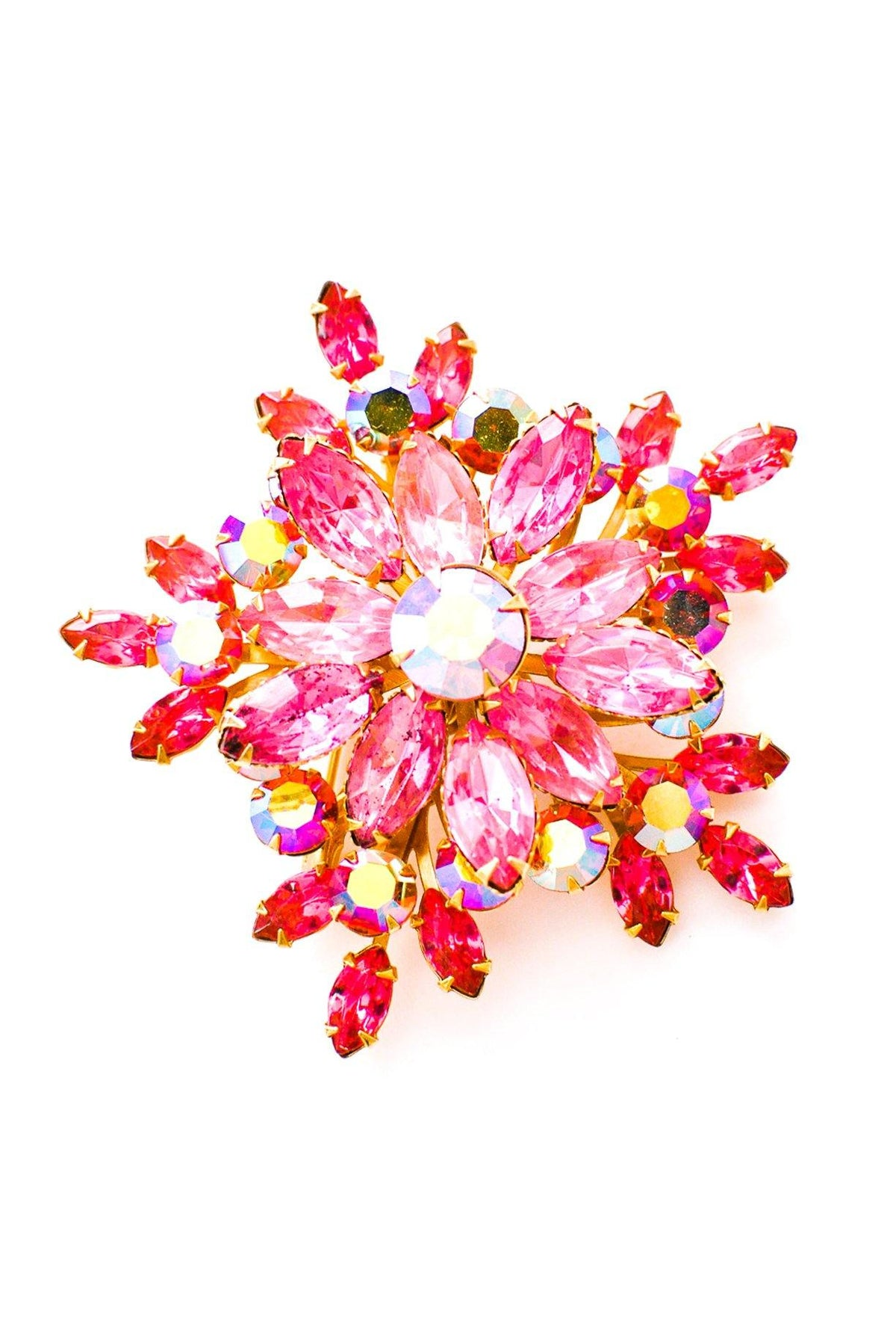 Vintage pink rhinestone statement brooch from Sweet & Spark.