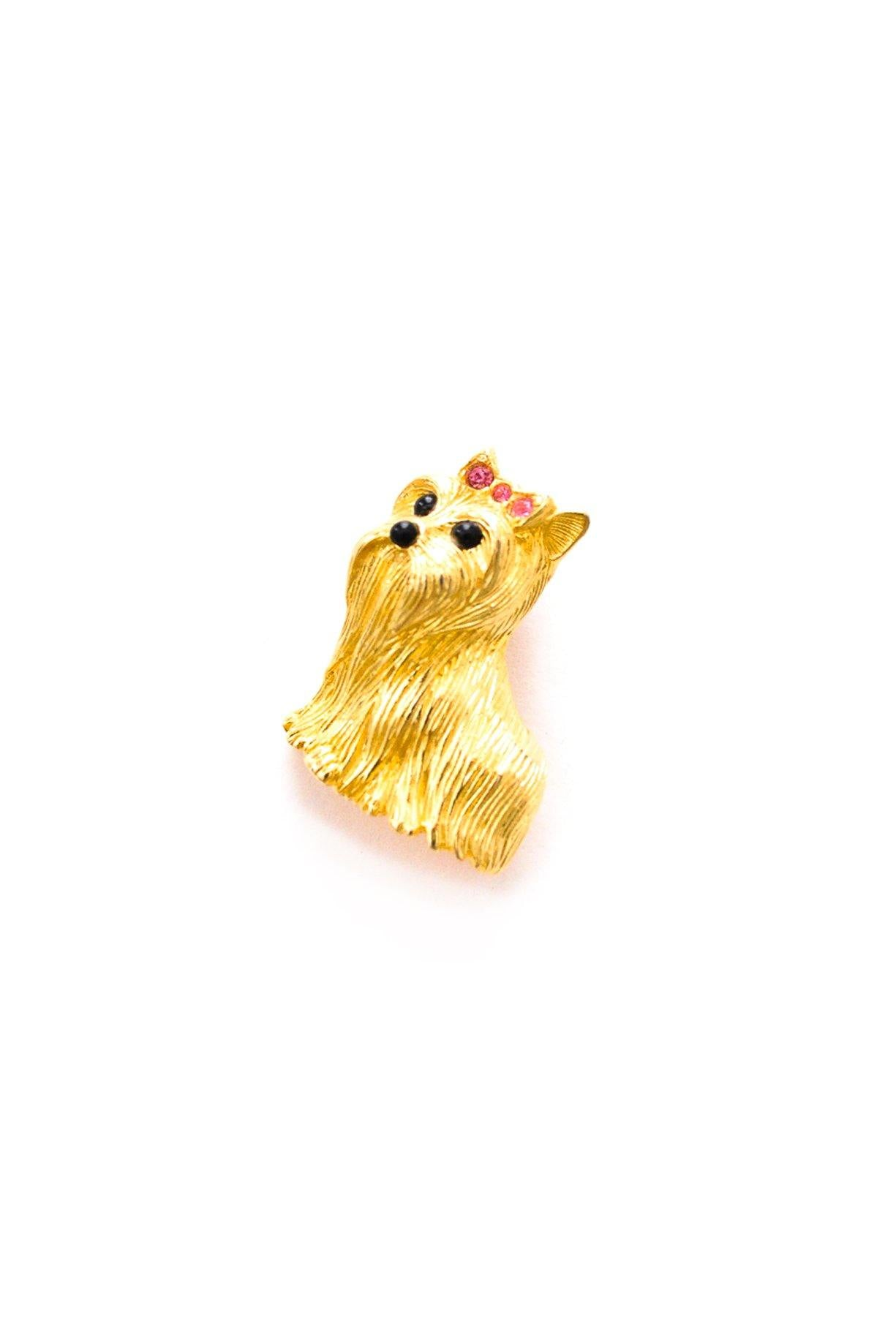 Vintage mini Joan Rivers terrier pin from Sweet & Spark.