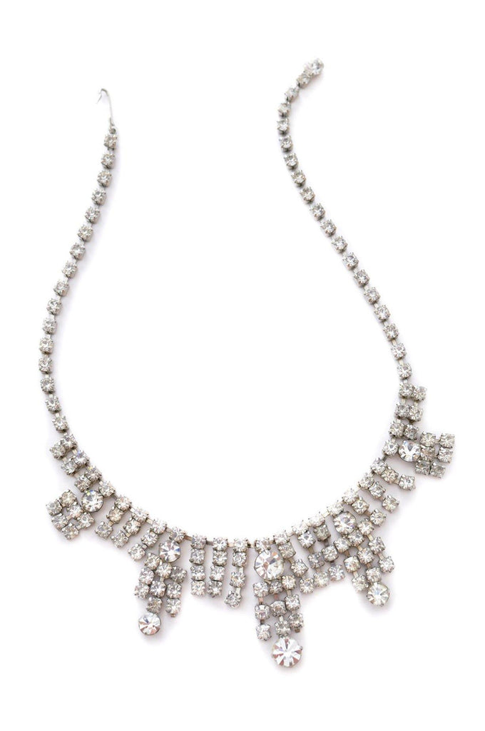 Rhinestone Fringe Statement Necklace