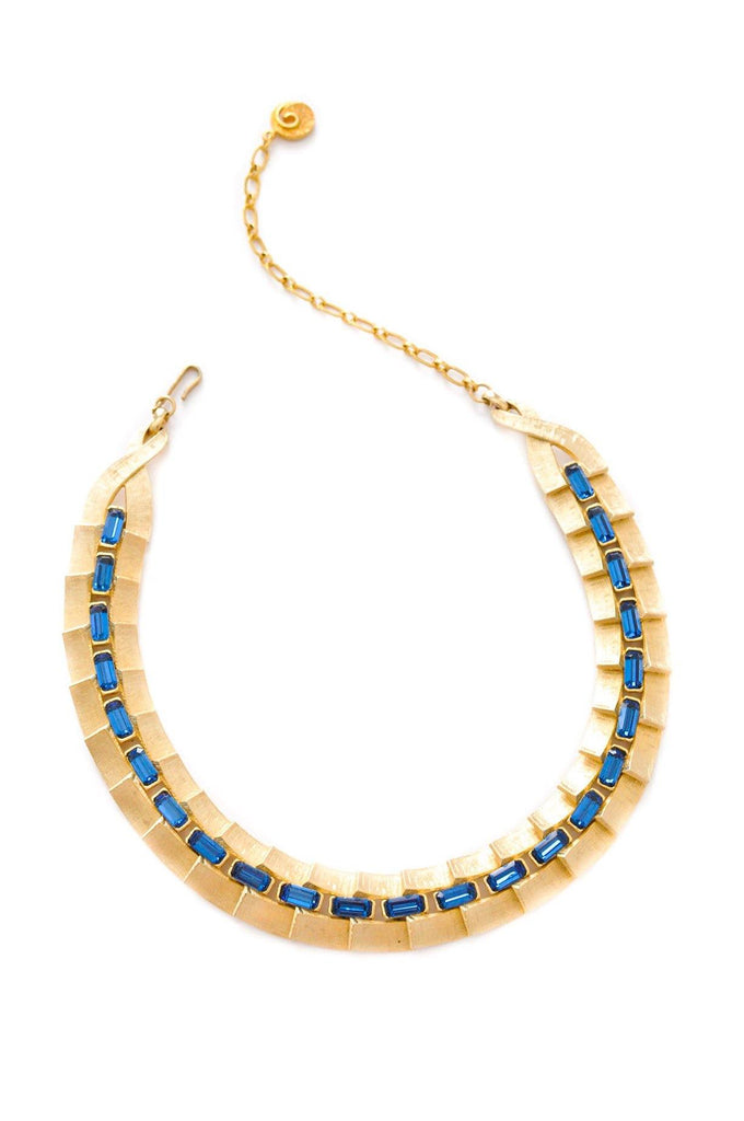 Blue Rhinestone Statement Necklace