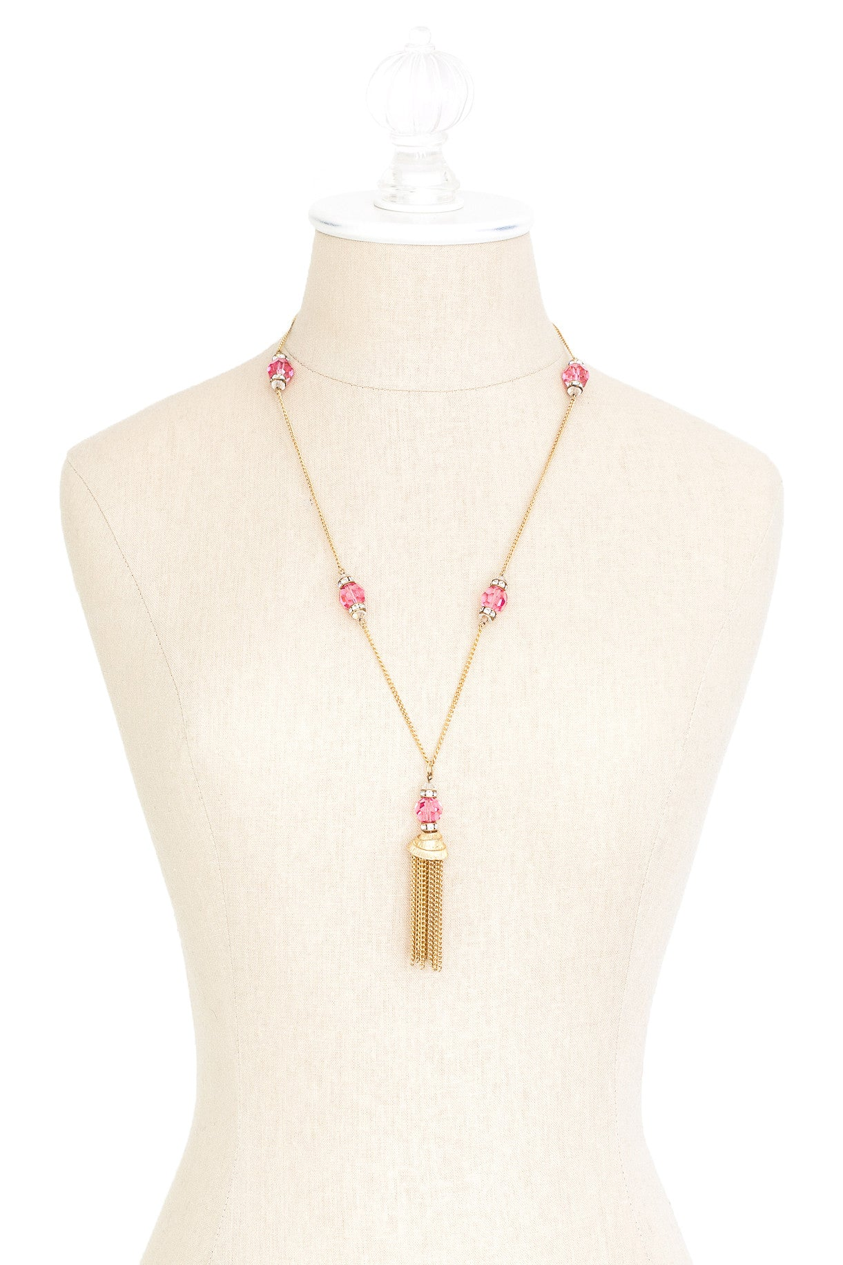 70's__Vintage__Pink Crystal Tassel Necklace