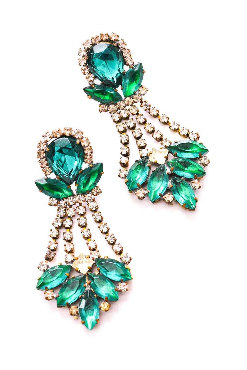 Emerald Green Statement Pierced Earrings