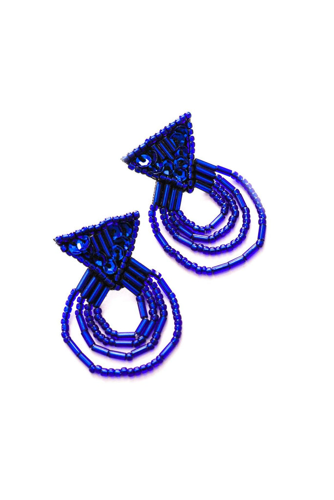 Blue Sequin Pierced Earrings
