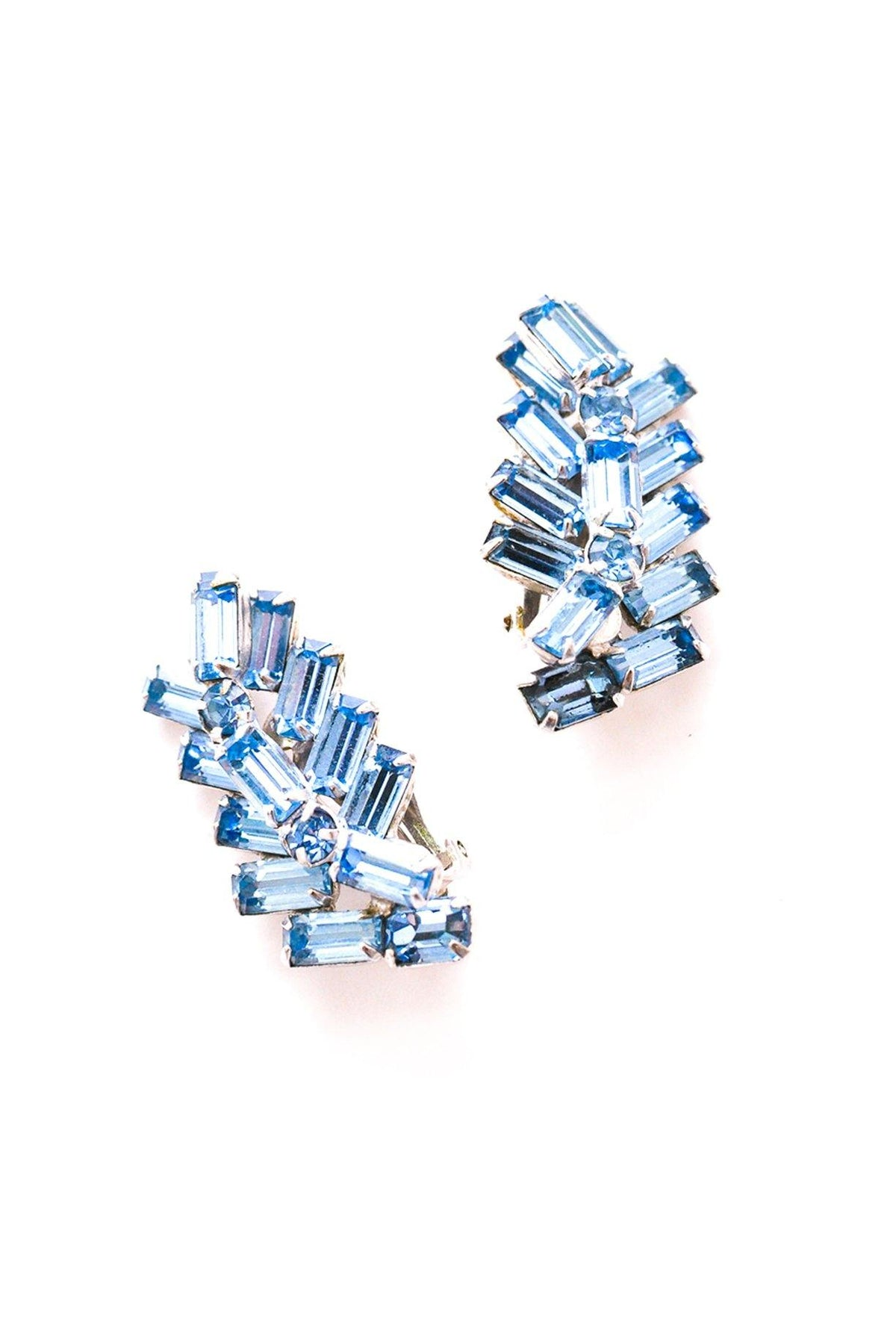 Vintage light blue rhinestone crawler clip-on earrings from Sweet & Spark.