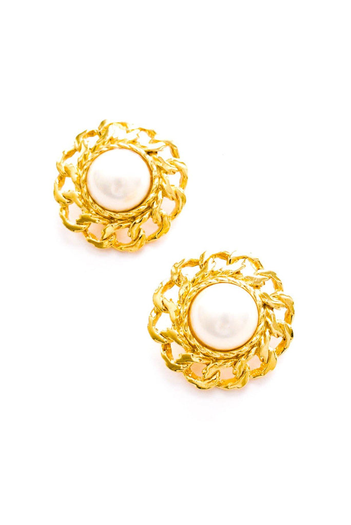 Statement Pearl Chain Clip-on Earrings