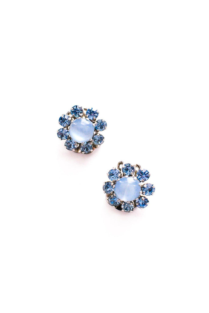 Mini Blue Floral Clip-on Earrings