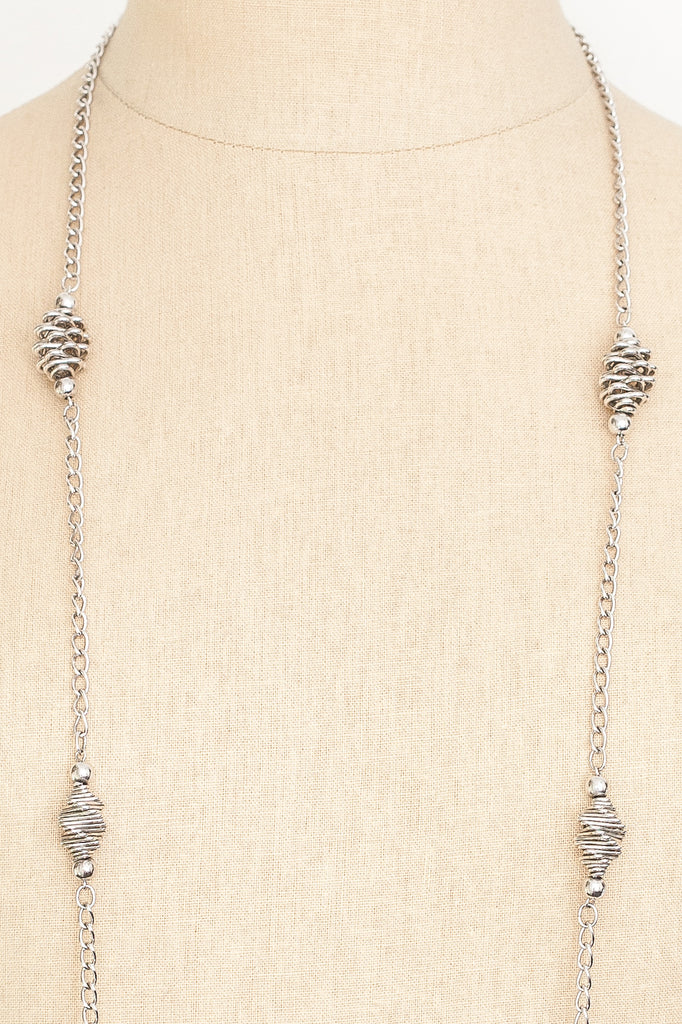 60's__Trifari__Extra Long Silver Necklace