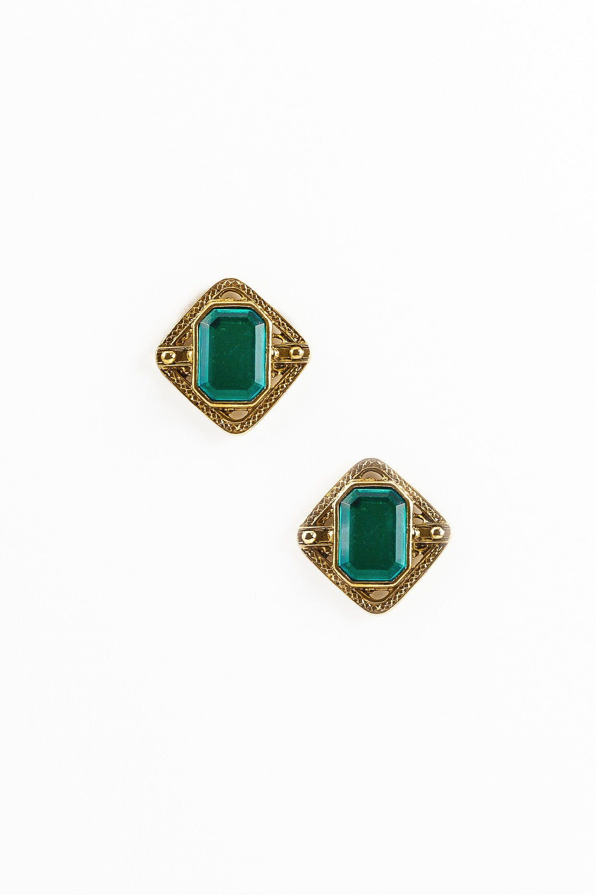 70's__Vintage__Emerald Statement Shield Earrings