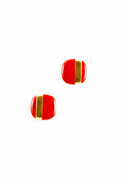 70's__Monet__Striped Red Square Earrings
