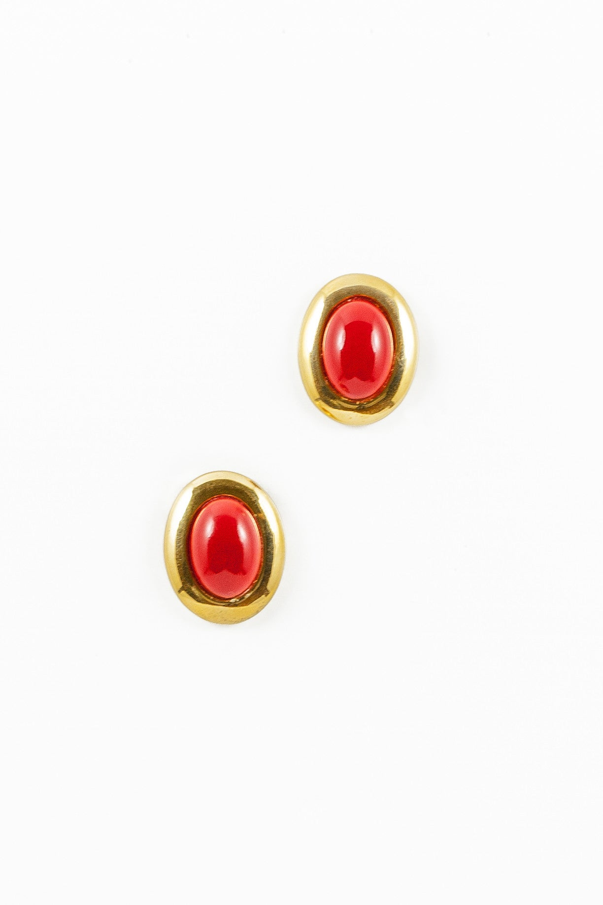 80's__Napier__Statement Red Stone Earrings