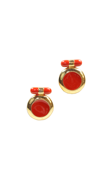 80's__Vintage__Red Enamel Earrings