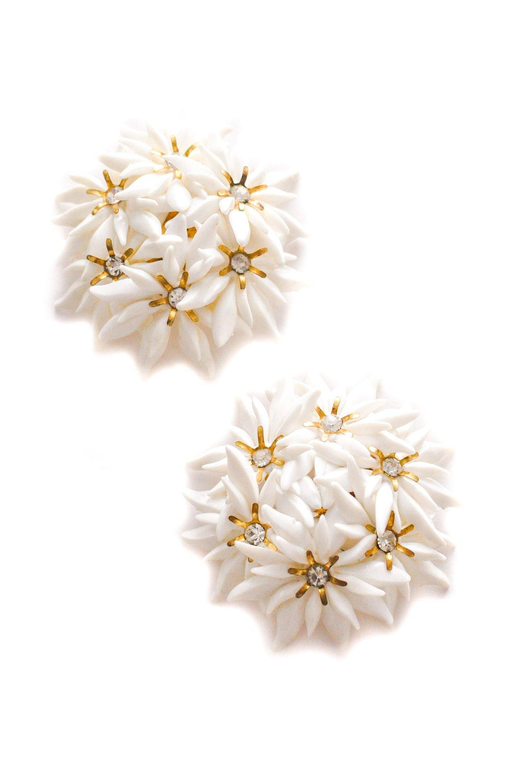 White Floral Cluster Clip-on Earrings