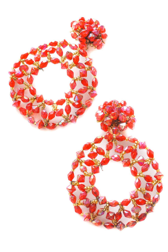 Red Crystal Hoop Clip-on Earrings