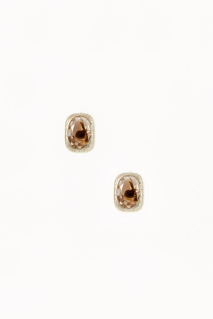 70's__Sarah Coventry__Brown Stone Stud Clip-on Earrings