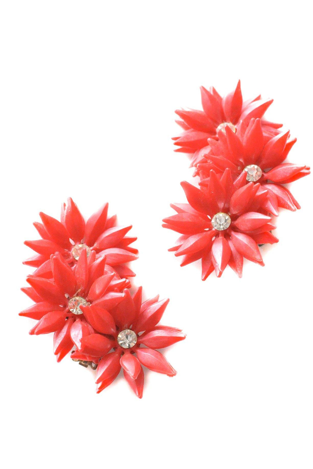 Red Floral Crawler Clip-on Earrings