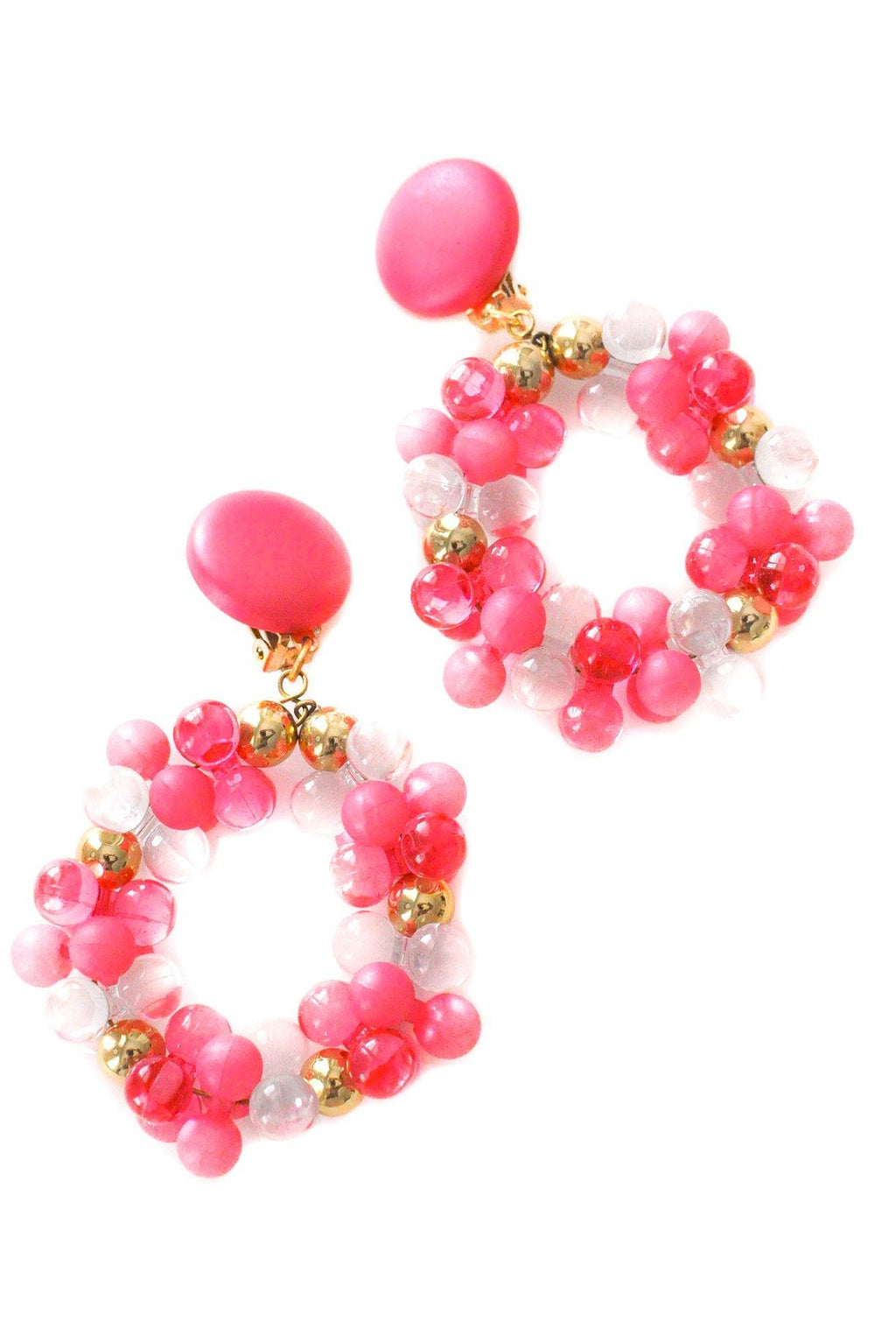 Pink Beaded Hoop Clip-on Earrings