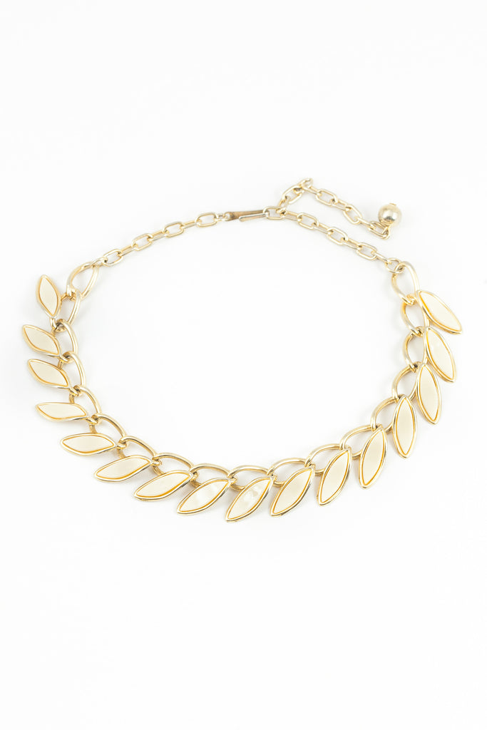 60's__Vintage__White Leaf Statement Necklace