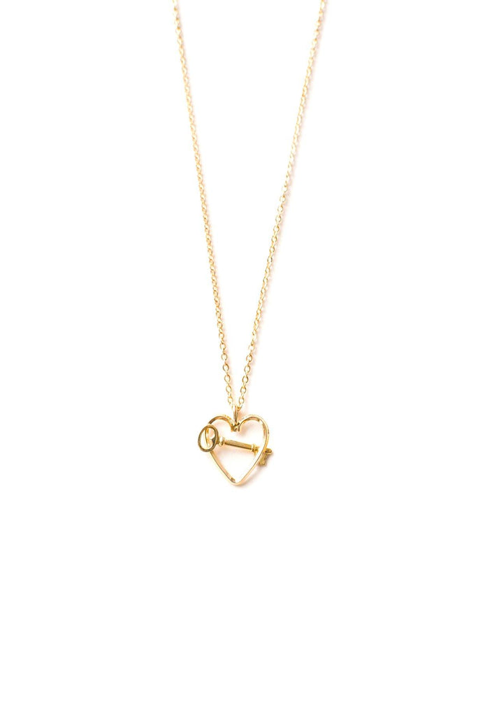 Dainty Heart & Key Necklace