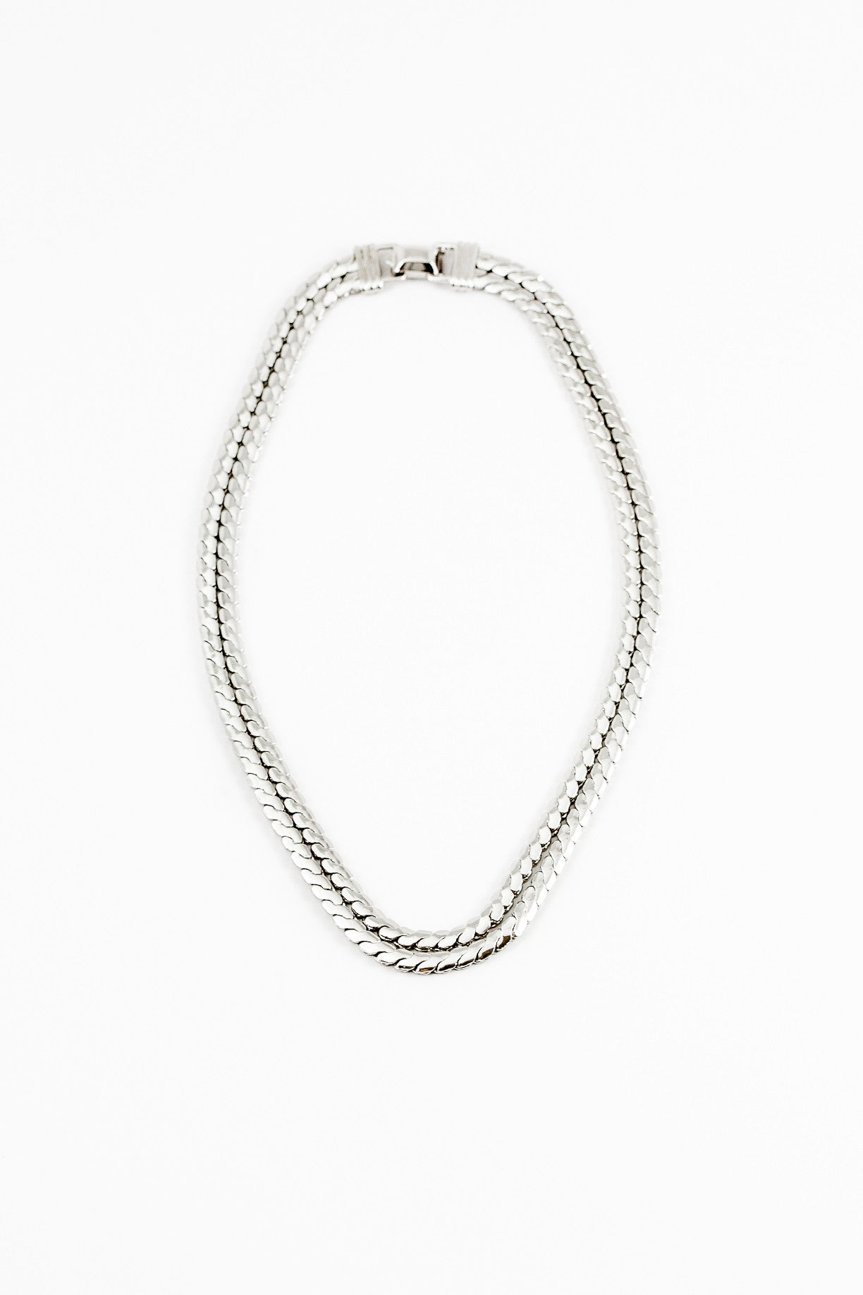 70's__Coro__Silver Flat Chain Necklace