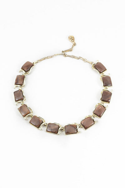 50's__Coro__Mauve Lucite Statement Necklace