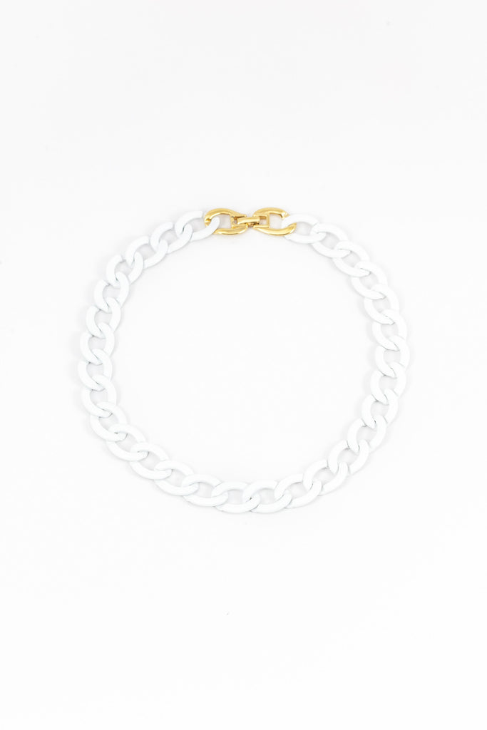 80's__Monet__White Link Necklace