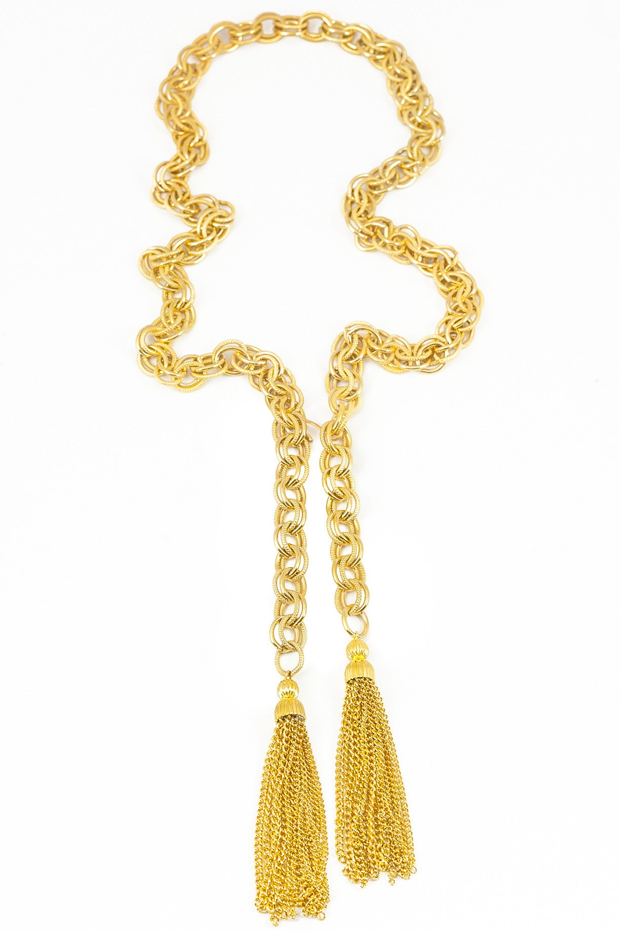 70's__Vintage__Open Double Tassel Necklace