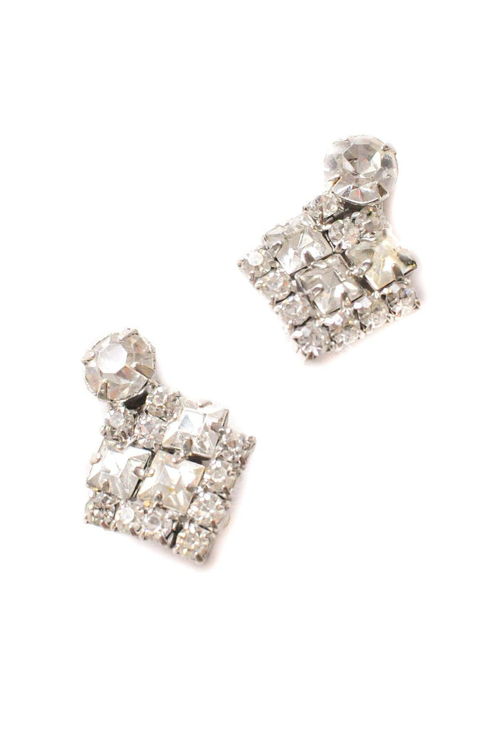 Deco Rhinestone Clip-on Earrings