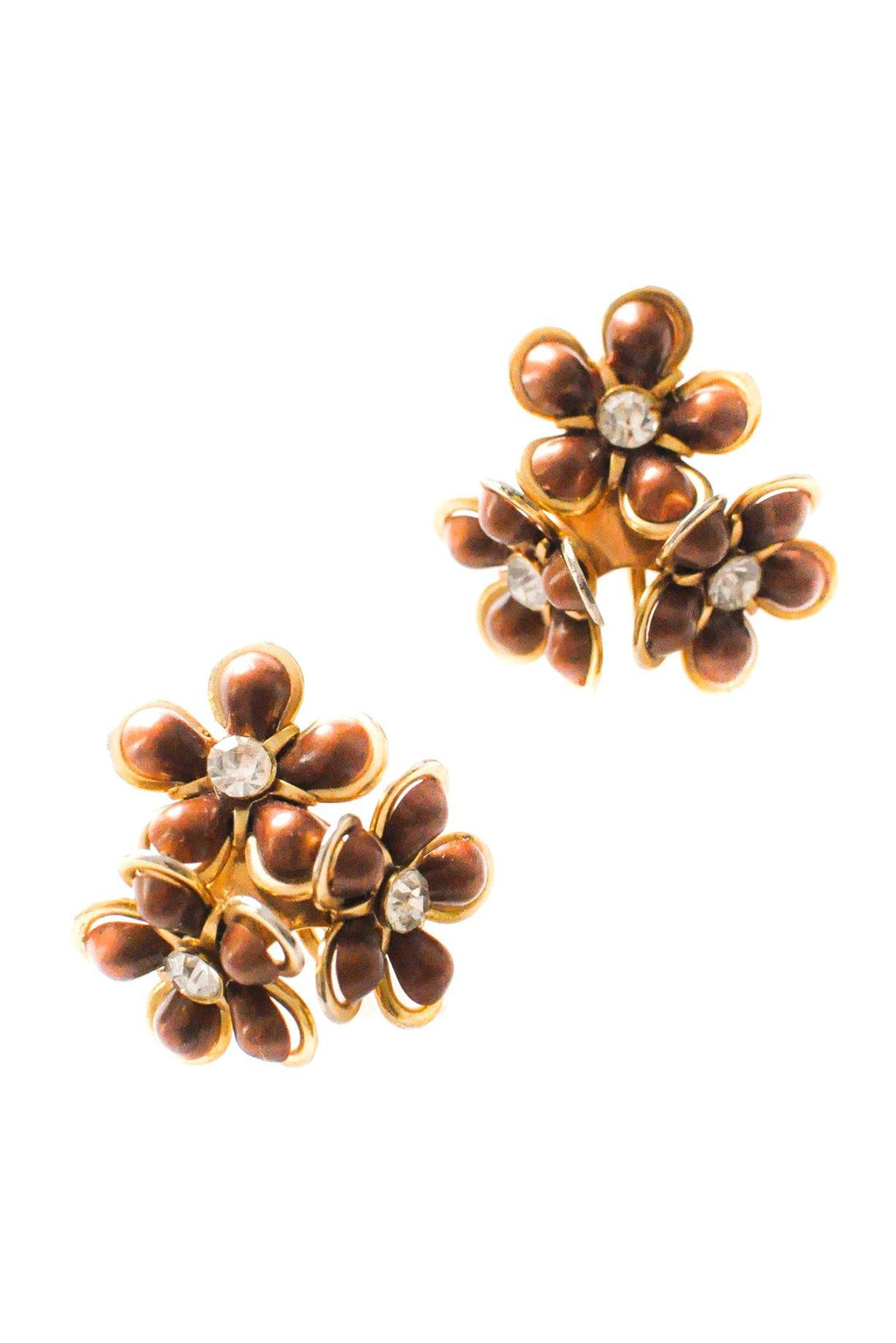 Brown Floral Cluster Clip-on Earrings