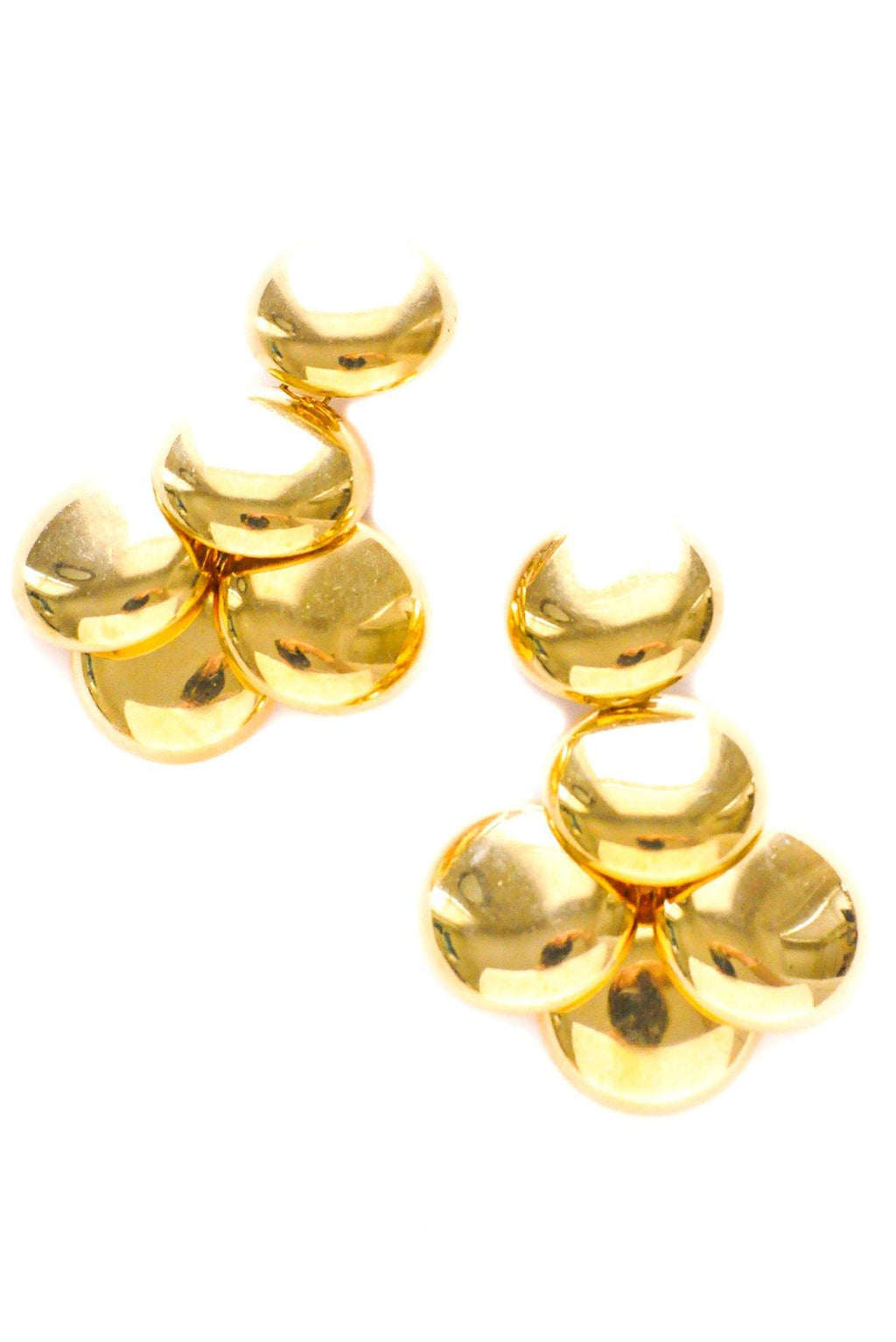 Gold Disc Statement Clip-on Earrings