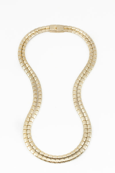 80's__Les Bernard__Rectangle Snake Necklace