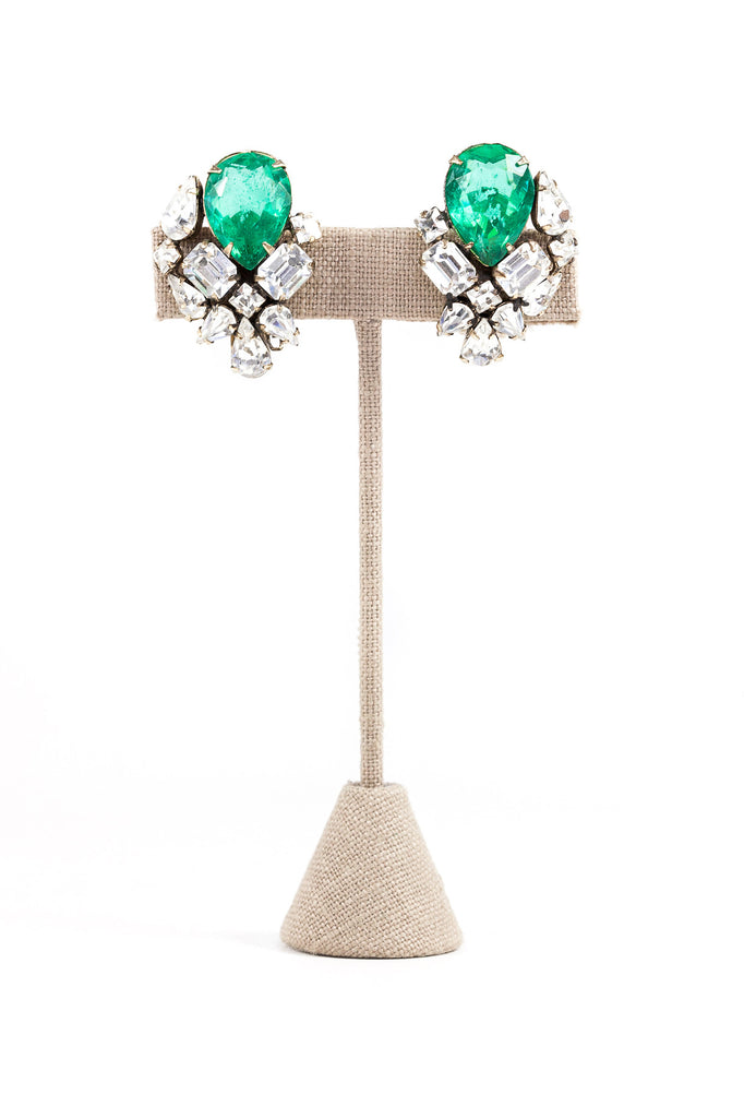 60's__Vintage__Emerald Statement Clip-on Earrings
