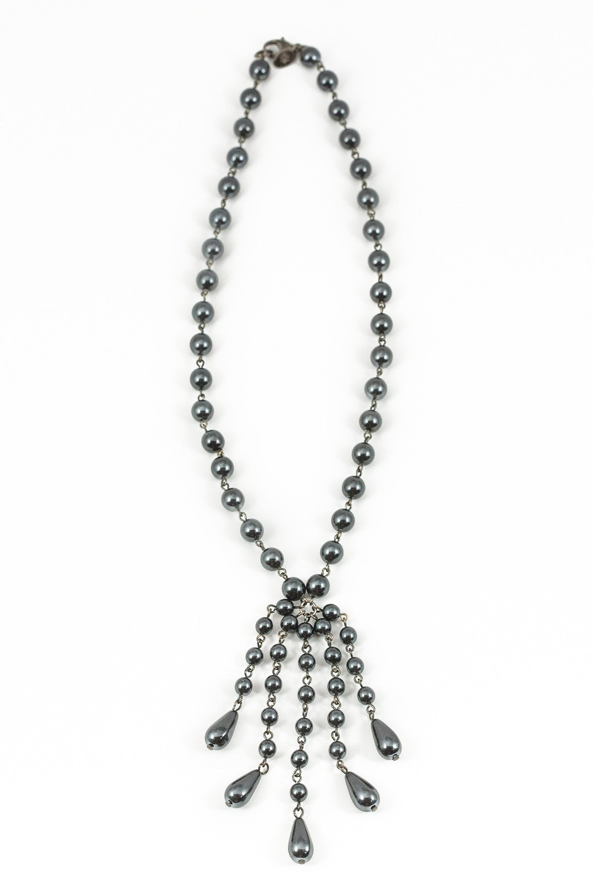 90's__Lydell__Black Beaded Tassel Necklace