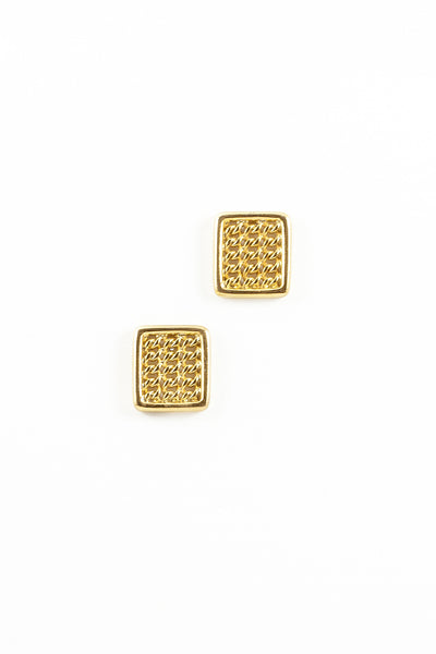 80's__Vintage__Link Rectangle Statement Earrings