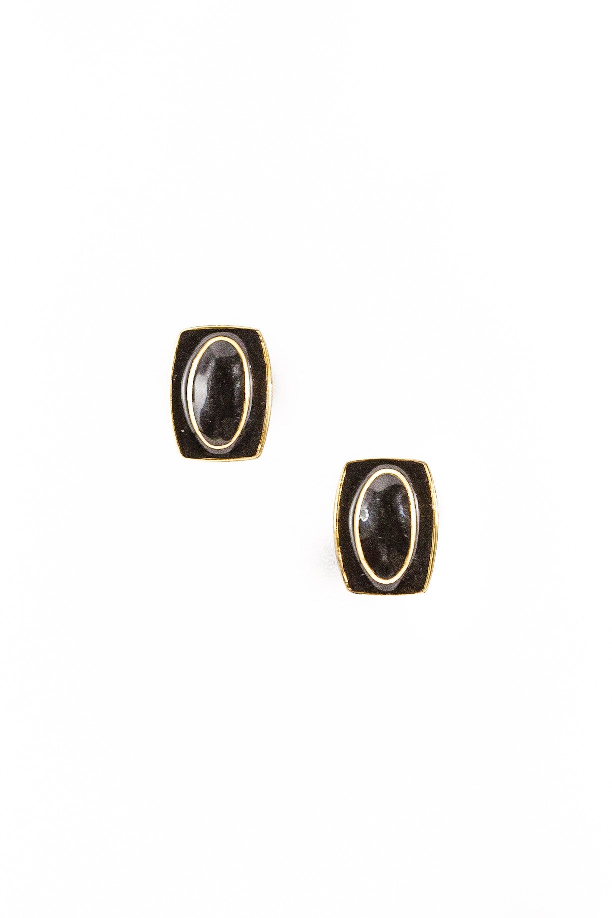 80's__Monet__Black Rectangle Mod Earrings