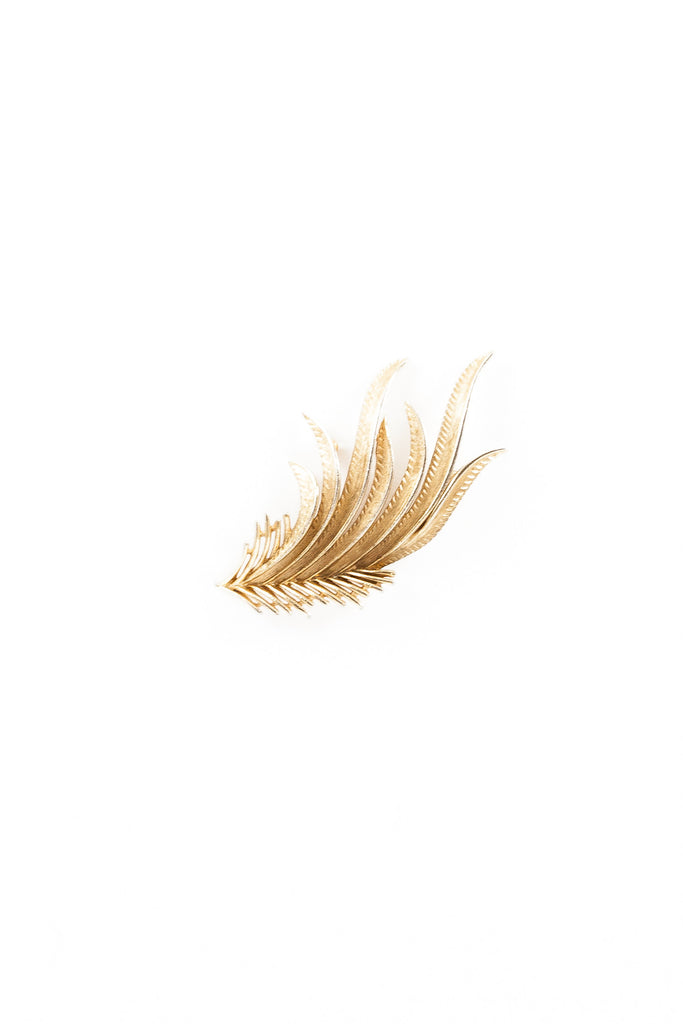 70's__Trifari__Fern Feather Pin