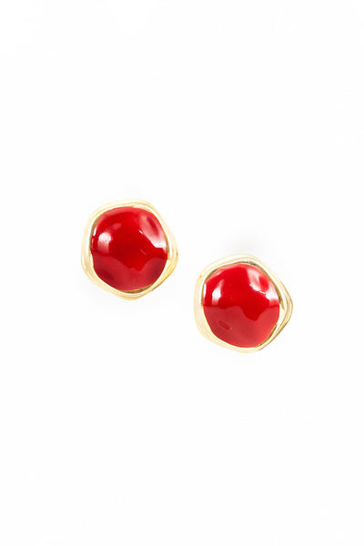 80's__Vintage__Chunky Red Abstract Statement Earrings