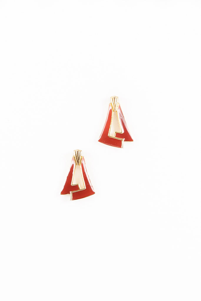 70's__Vintage__Enamel Triangle Earrings